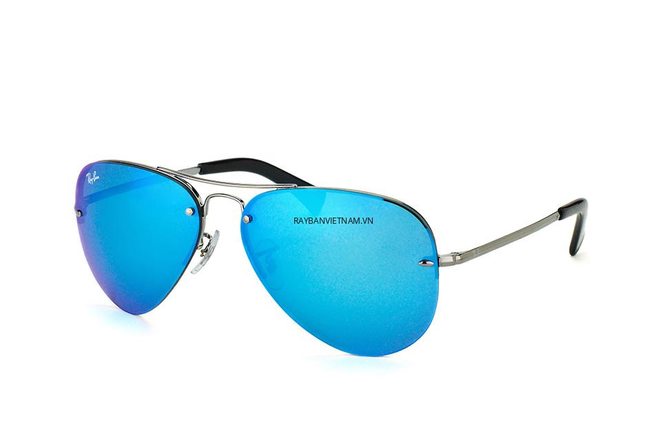 Kính Ray-Ban Aviator RB3449-004/55 tròng tráng gương xanh dương